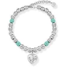 Ops Objects CUORE Bracciale Verde Acqua Acciaio NODI Lux Crystal OPSBR-476