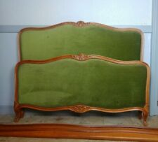 Antique French Capitonne Corbeille Bed, Beautiful Green Colour