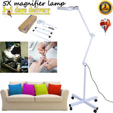 5X Magnifying Lamp Led Light Wheel Floor Stand Beauty Nail Facial Jewelry Work