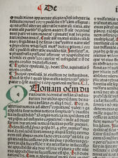 Rubricated Incunable Leaf Folio Thomas Aquinas Opuscula (34) - 1490