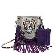 Sugar Skull w/Fringe Accented Crossbody Messenger Bag