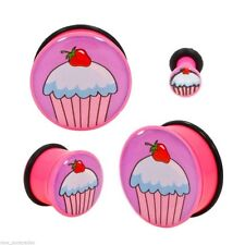 PAIR-Cupcake Pink Acrylic Single Flare Plugs 05mm/4 Gauge Body Jewelry