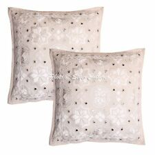 "Indain Mirror Embroidered Cushion Cover Star Moon Pillow Case Decor 16"" Throw"