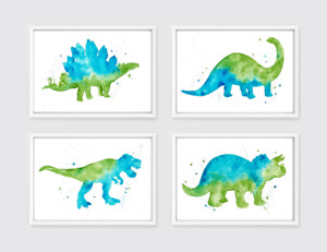 Set of 4 Dinosaur Prints - abstract watercolour art green and blue boys bedroom