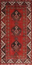 4x7 Vintage Geometric Balouch Tribal Area Rug Wool Hand-knotted Oriental Carpet