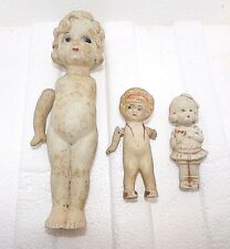 """OLD 3 BISQUE PORCELAIN VINTAGE 3-7"""" INCH DOLLS - Made in Japan, Hinged arms on 2"""