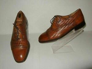 Magnanni Rio Cognac Brown Woven Leather Cap Toe Oxford Shoes Mens Sz.9.5 M