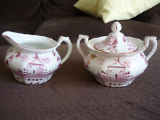 ANTIQUE PINK LUSTREWARE SUGAR & CREAMER/ WHITE, CREAM,MULBERRYWARE, ENGLAND