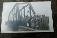 1915 Real Photo Postcard Large Crowd of People on Steel Bridge / Kansas Postmark