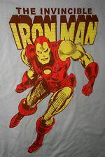 Marvel Comics Old School Invincible Iron Man logo T-Shirt New NOS LG Gray 2010