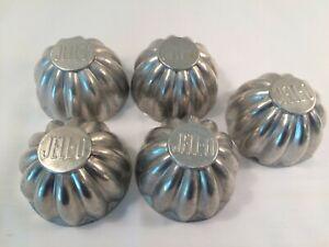 5 Vtg Metal/Aluminum Silver Color Small Cake/Jello/Salad/Tart Baking Tin/Pans