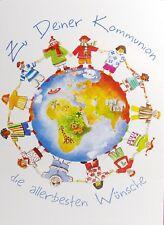 """Carola Pabst """"Zur Deiner Kommunion"""" Grußkarte Kinder der Welt Weltkugel Tiere"""