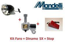 Kit Faro Nero + Dinamo SX in Alluminio + Stop per bici 26-28 R Viaggio bacchetta