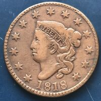 1818 Large Cent Coronet Head One Cent 1c Better Grade #9072
