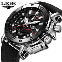 Mens Watch Luxury LIGE Brand Analog Leather Sport Watches Men's Army Military