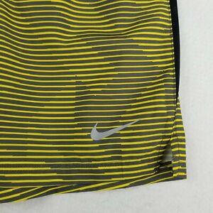 Nike Striped Yellow Swim Trunks Shorts Size L Elastic Waist Drawstring Lined