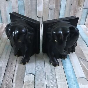 Antique Elephant Book Ends