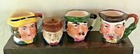 "Vintage Lot of 4 3D Face Mugs Hand Painted Ceramic Cups 2"" - 2 1/2"" Tall Japan"