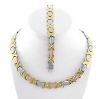 "Hugs & Kisses Necklace Womens 3 Tone Stainless Steel 18"" New XOXO Bracelet Set"