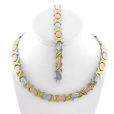"Womens 3 Tone Hugs & Kisses Necklace,Bracelet Set Stainless Steel 18"" New XOXO"