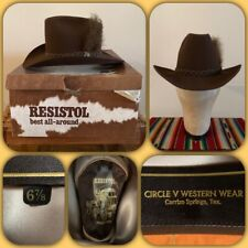VTG 70s RESISTOL STAGECOACH Cowboy HAT 6 7/8 Western Small TX Feather Pin Box