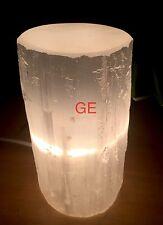 "6"" Selenite Lamp W/Cord Log Tower Cylinder Polish Top Quality 100% Morocco Gift."