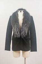 NWT $575 Theory Black Stretch Corduroy Blazer with Fur Collar Size P