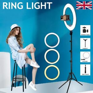 10'' LED Ring Light Dimmable Lighting Kit Phone Selfie Tripod Stand Lamp Live UK