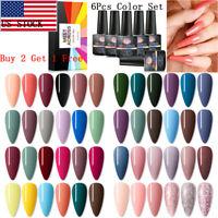 MEET ACROSS 6Bottles/set UV Gel Nail Polish Set Soak Off Varnish Manicure Tips
