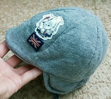 Minibanda Baby Boy Hat Visor Gray Bear Earflaps Velcro Closure Cotton 0-3 month