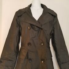 Guess Jacket Black Vegan Faux Leather Quilted Trench Rain Coat PVC Size Medium