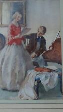 """ANTIQUE LITHOGRAPHY PRINT""""MUSIC LESSON"""" SIGNED """"WEBSTER """"GILT PERIOD WOOD FRAME."""