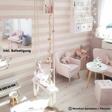 Kinderzimmer Indoor Schaukel aus Holz - weiss-rosa für Kinder und Kleinkinder