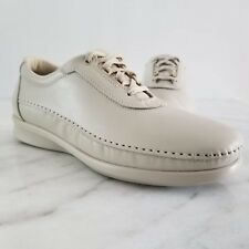 SAS Traveler Women's Beige Leather Oxford Tripad Comfort Walking Shoes Lace Up 8