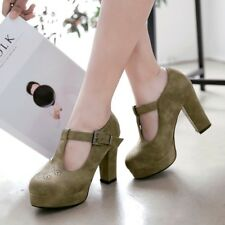 Women's Solid Color T-strap Buckle Block High Heels Round Toe Platform Shoes