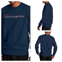 Champion Mens Navy Blue NEW Classic Split Logo Crewneck Pullover Top Sweater L