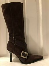 Guess by Marciano Raisin/Chocolate Brown Suede & Leather Knee High Boots Size 6