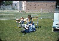 Pretty Woman Girl Lawn Chairs 1950s 35mm Slide Red Border Kodachrome Americana