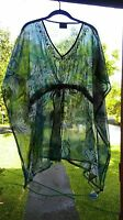 """""""Curations Caravan Printed Chiffon"""" Tropical Leaves. One Size Fits Most Misses"""