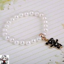 Pulsera perlas oso negro