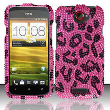 T-Mobile HTC ONE S Crystal Diamond BLING Hard Case Phone Cover Hot Pink Leopard