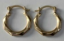 SMALL 9ct Gold Creole Hoop Earrings 12.5 MM LONG