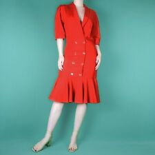 VINTAGE Red Wiggle Pencil Frill Ruffle Cocktail 80s 90s Midi Retro Dress XS 6 8