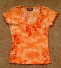 JUNIORS WOMENS FAIRMARK TOP SHIRT ORANGE SEQUINS BEADS VERY PRETTY EXC!!!