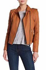 $680 DOMA Waxy Lamb Nappa Leather Moto Jacket Camel Medium Style: 6315