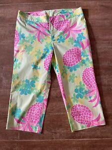 10 Lilly Pulitzer Crop Capri Pants Palm Green Lanai pineapple pink Resort 2004