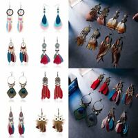 Fashion Bohemia Earrings Long Tassel Fringe Boho Feather Dangle Women Jewelry