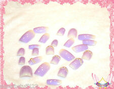Starsire Lavender Purple with Pearls Japan Acrylic Fake 24 3D Shiny Full Nails