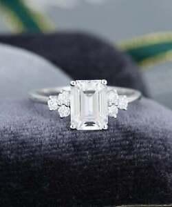 14k White Gold Emerald Diamond Cluster Ring Women Jewelry 2.00Ct Emerald Diamond