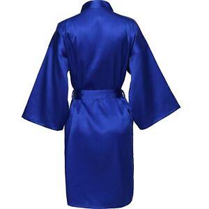 Woman's Plain Silk Satin Robes Bridal Wedding Bride Bridesmaid Robe Kimono Gown